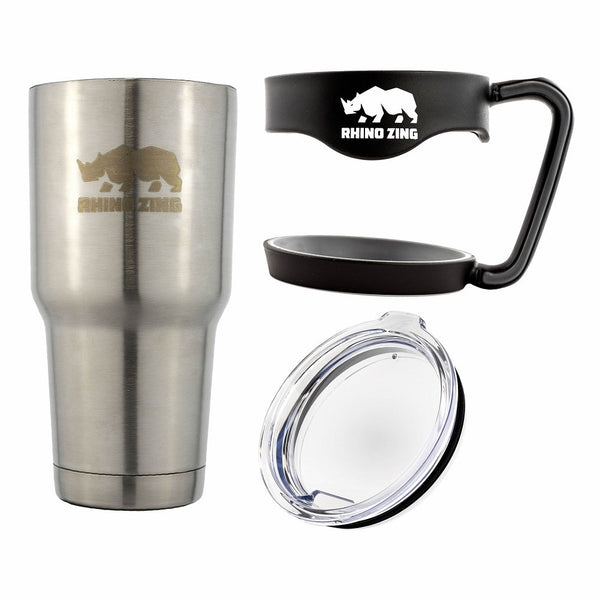 30 Oz Tumbler w/Handle Stainless Steel Travel Insulated Coffee Mug Non-Slide Lid - CampWildRide.com