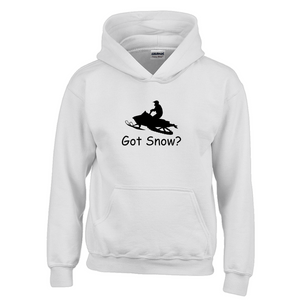 Got Snow? Escape on a Snowmobile! Novelty Youth Hoodies (No-Zip/Pullover)