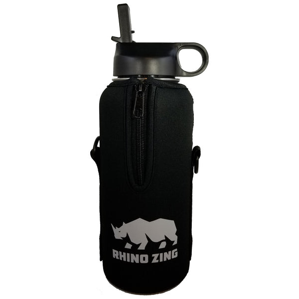 32 Oz Growler Stainless Steel Water Bottle w/Sleeve and Wide Mouth Straw Lid