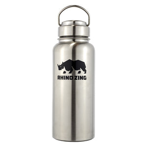 32 Oz Growler Stainless Steel Water Bottle with Wide Mouth Stainless Steel Lid