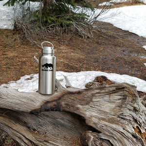 32 Oz Growler Stainless Steel Water Bottle with Wide Mouth Stainless Steel Lid - CampWildRide.com