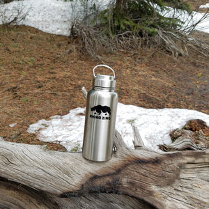 32 Oz Growler Stainless Steel Water Bottle with Wide Mouth SS Lid