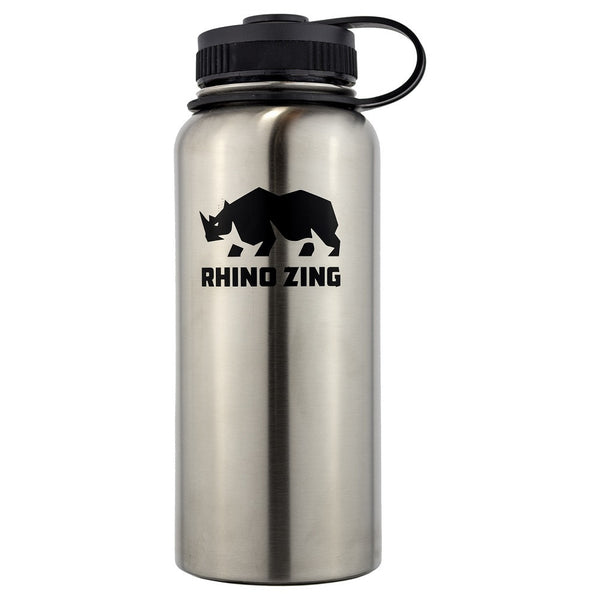 32 Oz Growler Stainless Steel Water Bottle with Wide Mouth Standard Lid