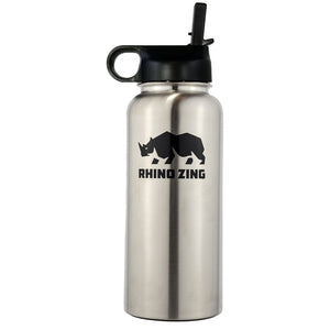 32 Oz Growler Stainless Steel Water Bottle with Wide Mouth Straw Lid