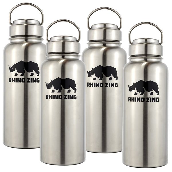 4 Pack 32 Oz Growler Stainless Steel Water Bottle with Wide Mouth SS Lid - CampWildRide.com