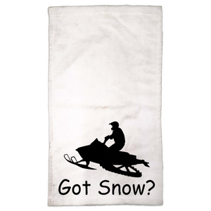 Got Snow? Escape on a Snowmobile! Novelty Funny Hand Towel - CampWildRide.com