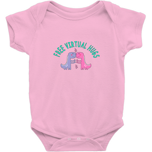 Free Virtual Hugs Dino! Novelty Infant One-Piece Baby Bodysuit - CampWildRide.com