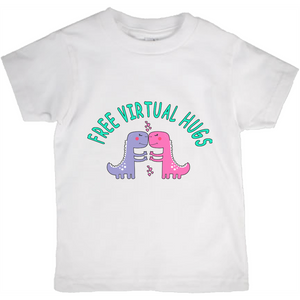 Free Virtual Hugs Dino! Novelty Short Sleeve Youth T-Shirt - CampWildRide.com