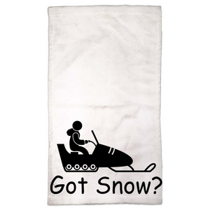 Got Snow? Fun on a Snowmobile! Novelty Funny Hand Towel - CampWildRide.com