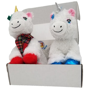 "Christmas Unicorn Gift Box 8"" Plush Doll Set with Mystery Surprise inside. Adorable Gifts Boy Girl"