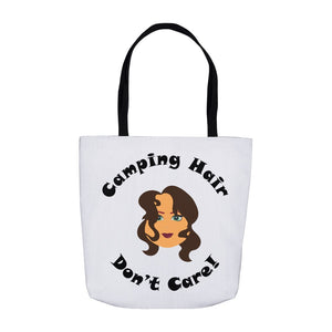 Camping Hair Don't Care! Novelty Funny Tote Bag Reusable - CampWildRide.com