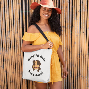 Camping Hair Don't Care! Novelty Funny Tote Bag Reusable