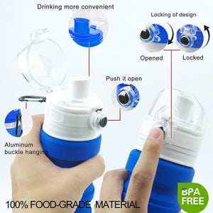 Collapsible Water Bottle Silicone Travel Bottle - CampWildRide.com