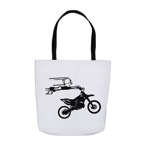 Crazy Boy on Motorcycle! Novelty Funny Tote Bag Reusable