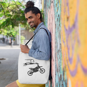 Crazy Boy on Motorcycle! Novelty Funny Tote Bag Reusable - CampWildRide.com