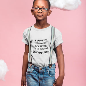 Wife Lets Me Go Camping! Novelty Short Sleeve Youth T-Shirt - CampWildRide.com
