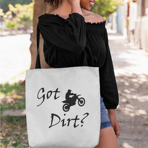 Got Dirt? Fun on a Motorcycle! Novelty Funny Tote Bag Reusable - CampWildRide.com