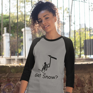 Got Snow? View from the Chair Lift! Novelty Baseball Tee (3/4 sleeves) - CampWildRide.com