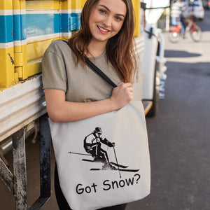 Got Snow? Downhill Skiing! Novelty Funny Tote Bag Reusable