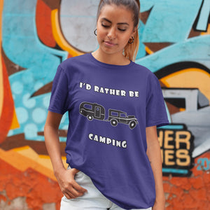 I'd Rather Be Camping-Live it in a RV! Novelty Short Sleeve T-Shirt