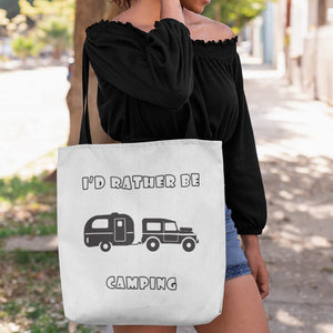 I'd Rather Be Camping-Live it in a RV! Novelty Funny Tote Bag Reusable