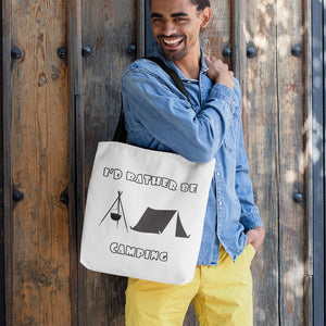 I'd Rather Be Camping-Live it in a Tent! Novelty Funny Tote Bag Reusable - CampWildRide.com