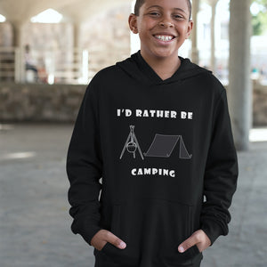 I'd Rather Be Camping-Live it in a Tent! Novelty Youth Hoodies (No-Zip/Pullover) - CampWildRide.com