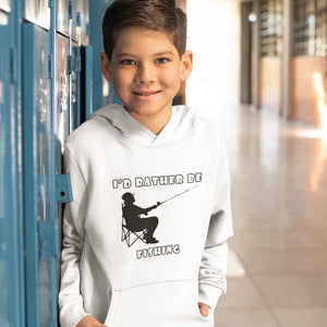 I'd Rather Be Fishing! Novelty Youth Hoodies (No-Zip/Pullover) - CampWildRide.com