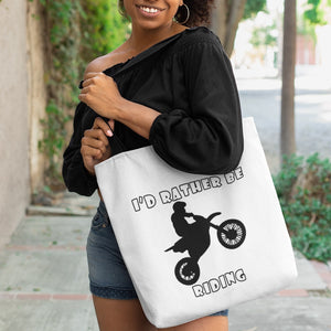 I'd Rather Be Riding my Motorcycle! Novelty Funny Tote Bag Reusable - CampWildRide.com