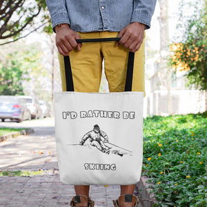 I'd Rather Be Skiing Powder! Novelty Funny Tote Bag Reusable - CampWildRide.com