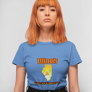 Illinois Gets Its S'more On! Novelty Short Sleeve T-Shirt - CampWildRide.com