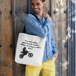 I'm not easily distracted-Dirt Bike! Novelty Funny Tote Bag Reusable