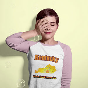 Kentucky Gets Its S'more On! Novelty Baseball Tee (3/4 sleeves) - CampWildRide.com