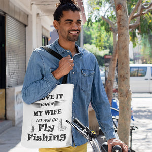 Wife Lets Me Go Fly Fishing! Novelty Funny Tote Bag Reusable - CampWildRide.com