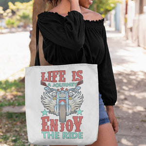 Life is a Journey, Enjoy the Ride, Fun on a Hog! Novelty Funny Tote Bag Reusable - CampWildRide.com
