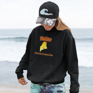 Maine Gets Its S'more On! Novelty Hoodies (No-Zip/Pullover) - CampWildRide.com