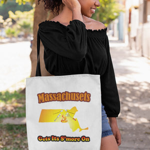 Massachusetts Gets Its S'more On! Novelty Funny Tote Bag Reusable