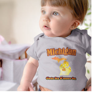 Michigan Gets Its S'more On! Novelty Infant One-Piece Baby Bodysuit - CampWildRide.com