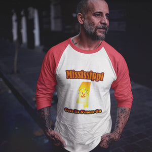 Mississippi Gets Its S'more On! Novelty Baseball Tee (3/4 sleeves)