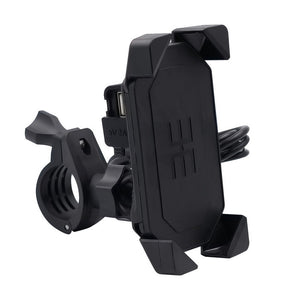 Motorcycle Cell Phone Mount Holder with USB Cable Charger Adapter 2.1A Power Socket