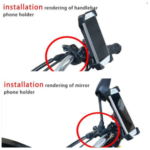 Motorcycle Cell Phone Mount Holder with USB Cable Charger Adapter 2.1A Power Socket - CampWildRide.com
