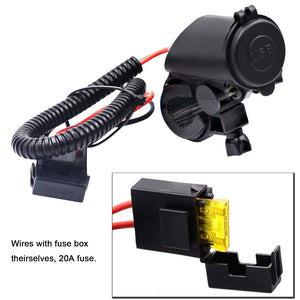 Motorcycle Dual USB Cable Charger Adapter 2.1A Power Socket