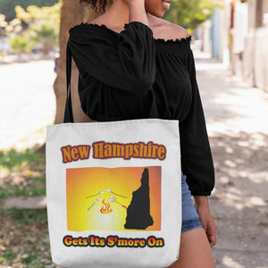 New Hampshire Gets Its S'more On! Novelty Funny Tote Bag Reusable - CampWildRide.com