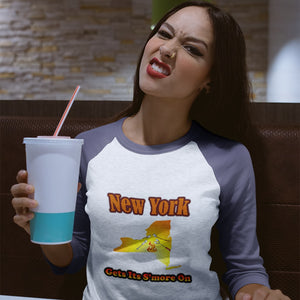 New York Gets Its S'more On! Novelty Baseball Tee (3/4 sleeves) - CampWildRide.com