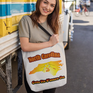 North Carolina Gets Its S'more On! Novelty Funny Tote Bag Reusable