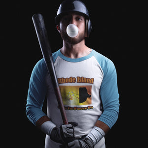 Rhode Island Gets Its S'more On! Novelty Baseball Tee (3/4 sleeves)