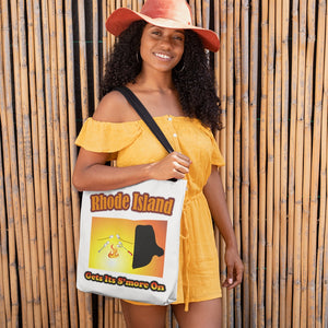 Rhode Island Gets Its S'more On! Novelty Funny Tote Bag Reusable