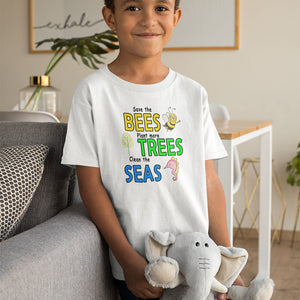 Save the BEES, Plant more TREES, Clean the SEAS! Novelty Short Sleeve Youth T-Shirt - CampWildRide.com