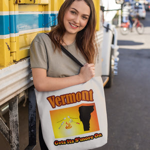 Vermont Gets Its S'more On! Novelty Funny Tote Bag Reusable - CampWildRide.com