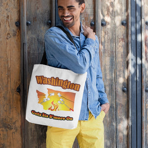 Washington Gets Its S'more On! Novelty Funny Tote Bag Reusable - CampWildRide.com